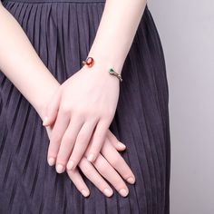 10K gold plated brass sstudded cuff, zircons,red agate oval