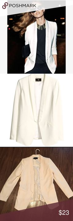 Tuxedo Blazer Natural white long sleeve white tuxedo blazer, only worn once like new. All offers will be considered. H&M Jackets & Coats Blazers