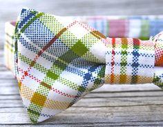 Rainbow Bow Tie for Boys -- Plaid Bowtie -- Toddler Bowtie -- Newborn Bowtie on Etsy, $18.00