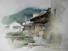 柳毅 / Liu Yi (b. 1958, China) sketches of series fishing village. watercolor.