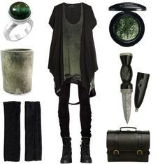 hexeknochen:  Moss and Stone by maggiehemlock featuring a round planter   Barbara I Gongini black trousers / Zara booties / Chen Fuchs Jewelry round ring, $160 / Pieces black fingerless glove, $15 / Mac cosmetics eyeshadow / HomArt round planter