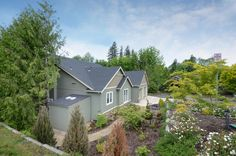 The angle from the road above this custom home. Designed and built by Quail Homes of Vancouver Washington.