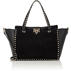 Valentino Women's Rockstud Medium Tote Bag (7.815.370 COP) ❤ liked on Polyvore featuring bags, handbags, tote bags, black, valentino tote, logo tote bags, valentino handbags, medium tote bag and flat purse