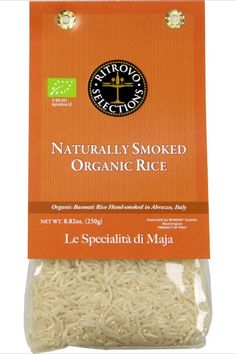 Organic Basmati white rice hand-smoked in Abruzzo, Italy. A fusion of Asian basmati rice and Abruzzese natural wood smoking. Savory smoky flavor. Pair with Northern Italian cured speck and sweet onions. Lovely in a rich broth-based chicken soup with root vegetables and bitter greens. Natural Spice, Natural Wood, Balsamic Vinegar Of Modena, Bitter Greens, Italian Spices, Truffle Oil, Best Appetizers, Drying Herbs, Gourmet Recipes