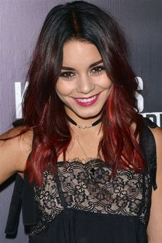 We're used to seeing Vanessa Hudgens with a blonde dip dye, but at Knott's Scary Farm Opening Night she debuted a bold new red look. What do you think? Dye Black Hair Red, Red Dip Dye Hair, Blonde Dip Dye, Dye My Hair, Dip Dyed, Red Hair Tips, Hair Dye Tips, 2015 Hairstyles, Cool Hairstyles