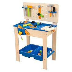 The Deluxe Work Bench & Tools from KidKraft offers the ultimate set-up for busy little builders, with interactive features adding authenticity to make-believe play.