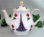 Eiffel tower teapot with Red Rose accents6 Cup CapacityMade of Porcelain