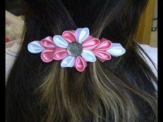 Flor com varias petulas Passo a Passo -Kanzashi ifuru, Ribbon Rose akam, N'onwe Gị - YouTube