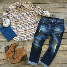 """#NEWARRIVALS  #Tribal #ButtonUp $34.99 XS-L #FlyingMonkey #Distressed #Boyfriends $79.99 24-30 #FreePeople #Booties $198.00 6-9 #Cami $9.99 We #ship! Call us to order! 903.322.4316 #shopdcs #instagood #instashop #love"" Photo taken by @daviscountrystore on Instagram, pinned via the InstaPin iOS App! http://www.instapinapp.com (09/14/2015)"