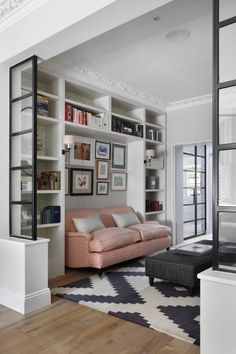 Built-in sofa nook Crittall-style glazing. Living Room Designs, Living Room Decor, Living Room Divider, Decor Room, Built In Sofa, Built Ins, Home Interior, Interior Design, Family Room