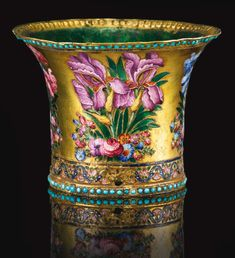 A fine Qajar gold and polychrome enamelled ghalian cup, Persia, 19th century   lot   Sotheby's