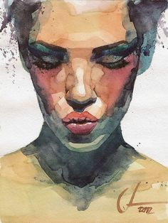 """Lips"" - Alexander Dzivnel, watercolor, 2012 {figurative art female head portrait woman face painting #loveart} dzivnelart.blogspot.com"
