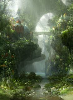 Concept art environment design illustration of a jungle forest world with medieval buildings brook, stream and bridge Lush vegetation and an adventurously perilous placement of structures iconize the fantasy landscape genre. Environment Concept, Environment Design, Green Environment, Fantasy Places, Fantasy World, Fantasy Forest, Fantasy City, Fantasy Setting, Fantasy Landscape