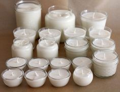 How to Make Soy Candles!   I have loved this! The only thing I actually bought for this was the wax and some dye. I used mugs and Mason jars for the containers and made my own wicks from kitchen string.