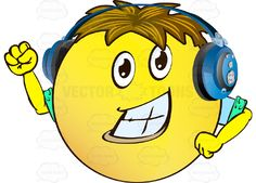 Cheering Yellow Smiley Face Emoticon With Arms, Brown Hair and Headphones With Arm Raised, Fist Clenched, Strong Chin, Wearing Rolled Up Sleeves #arms #cheer #computer #emotion #encouragement #expression #exuberant #eyes #face #feeling #glee #hands #icon #joy #lively #mood #optimism #PDF #smiley #vector-graphics #vectors #vectortoons #vectortoons.com #yell