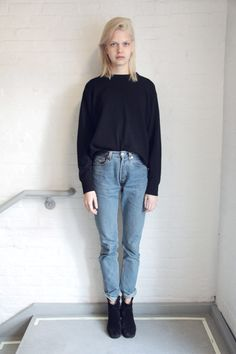 Boyfriend jeans, black sweater, black boots. Would probably look good with my new Missoni headband as well