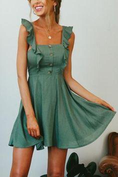 Depway Square Cap Sleeve Sleeveless A Line Mini Dresses (adding straps) Simple Dresses, Casual Dresses, Short Dresses, Casual Outfits, Summer Dresses, Mini Dresses, Pretty Outfits, Pretty Dresses, Cute Fashion