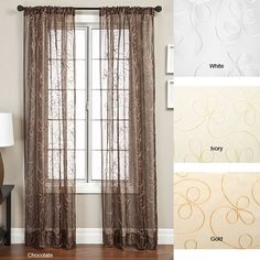 These embroidered sheer curtain panels are available in three colors, one of which is sure to add elegance to the appearance of your living room or dining room windows. Their ribbon organza pattern and sheer fabric combine for a touch of class.