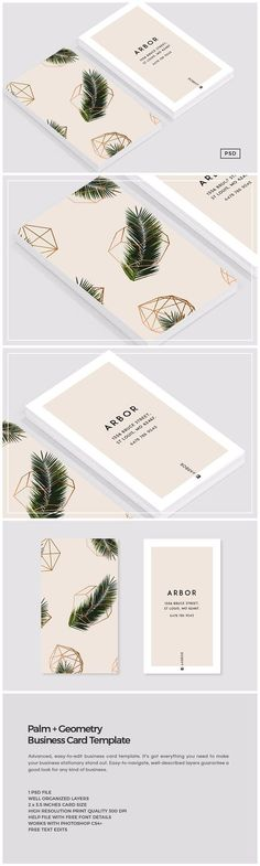 Palm + Geometry Business Card by The Design Label on @creativemarket