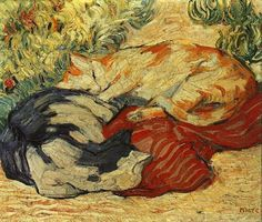 Claude Monet (French Impressionist; 1840-1926) ~ Two Cats Sleeping in the Garden