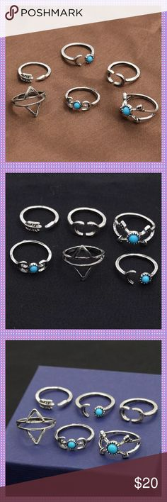 SIX Piece Retro Women's Ring Set ADORABLE Six-Piece Retro Women's Ring Set. Wear some as regular rings and some as midi-rings. Very Nice High Quality, Silver Alloy & Turquoise stones in three. Very Chic and popular right now Boutique Jewelry Rings