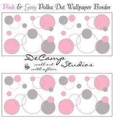 Pink Grey Gray Chevron Wallpaper Border Wall Decals Baby Girl