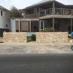 Limestone wall job starting to take shape at Esplanade Aldinga Beach