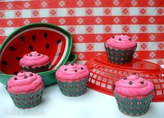 Watermelon Cupcakes! Starting to plan Emmys 2nd Birthday!!