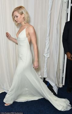 Floaty: The ethereal dress had a short train, which was on show as the star walked