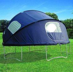Backyard camping! Trampolines, Trampoline Tent, Ground Trampoline, Recycled Trampoline, Backyard Camping, Tent Camping, Camping Ideas, Camping Hacks, Camping Stuff