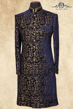 Navy Blue Velvet Zari Embroidered Wedding Sherwani-SH303