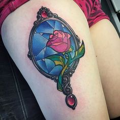 pinterest || ☽ @kellylovesosa ☾I had loads of fun tattooing this Beauty and the Beast rose and mirror today!!