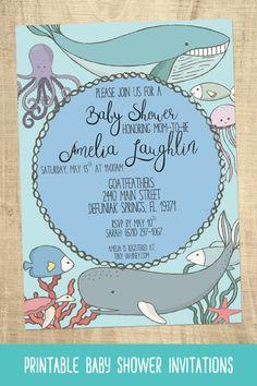 Gender Neutral Ocean Baby Shower Invitation Sea Animal Baby Shower Invite, Beach  Baby Shower Invitation