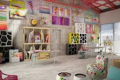 vibrant and colorful workspace! Pop Design, Display Design, Design Ideas, Barbie Dream House, Floor Colors, Office Interior Design, Nursery Bedding, Pop Art, Sweet Home