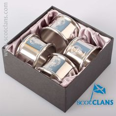 Rattray Clan Crest Pewter Napkin Rings. Free worldwide shipping available
