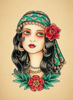 Old school tattoo. от Retrocrix tattoo old school Gypsy Woman Tattoo print. Old School Tattoo print. Trendy Tattoos, Black Tattoos, New Tattoos, Print Tattoos, Tattoos For Women, Hand Tattoos, Tatoos, Woman Tattoos, Des Femmes D Gitanes