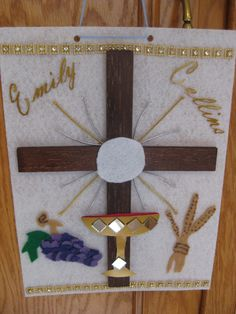 First Communion Banner with felt, shiny paper, mirrors, and stained balsa wood