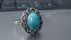 vintage  faux turquoise adjustable silver ring by TheVintageCellar, $20.00