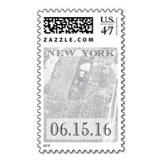 New York City stamp - Vintage Map - Custom Date