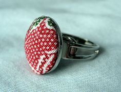 Kimono ring adjustable  covered button ring by Natsu3Needlework, $4.88