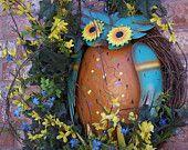 Spring Wreath Summer Wreath Everyday Wreath Sunflower by Keleas Front Door Decor, Wreaths For Front Door, Silk Flowers, Blue Flowers, Summer Wreath, Spring Wreaths, Owl Wreaths, Metal Hangers, Floral Supplies