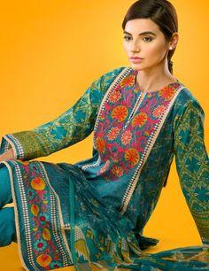 Khaadi Blue Pakistani Cotton Lawn Suit With Chiffon  Dupatta E15514B
