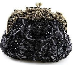 Black Beaded Victorian Purse - Roses And Teacups