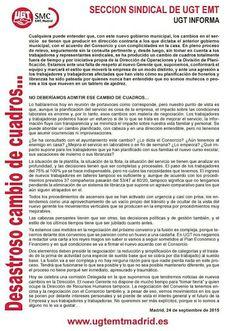 REDACCIÓN SINDICAL MADRID: La sección sindical de UGT EMT informa
