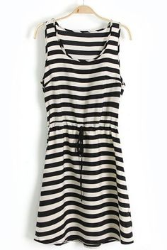 Black White Striped Sleeveless Drawstring Waist Dress pictures