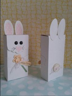 Adorable stampin up punch easter bunny box. instructions on the blog