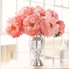 peonies, silver vase