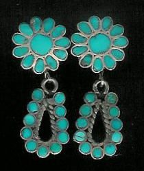 EARRINGS ZUNI TURQUOISE FLORAL HOOP DANGLE INLAY PAWN