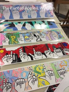Art 1 started off the school year doing sign language hands. I start the art 1 kids with modified conto Art 1 started off the school year doing sign language hands. I start the art 1 kids with modified contour drawings . They practice t. Art Education Projects, Art Education Lessons, Art Lessons Elementary, Elementary Art Rooms, Middle School Art Projects, Art School, Secondary School Art, Sign Language Art, 7th Grade Art