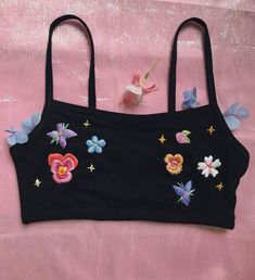 A black cotton blend bralette that I have hand embroidered with my Midnight in Spring design. Aesthetic Fashion, Look Fashion, Aesthetic Clothes, Spring Fashion, Fashion Outfits, Womens Fashion, Fashion Trends, Looks Hippie, Soft Grunge Hair